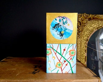 Painted Wooden Box, Home Decor - Small Original Painting on Wood, Japanese Fabric Design, Apricot Blossoms, Two Frogs