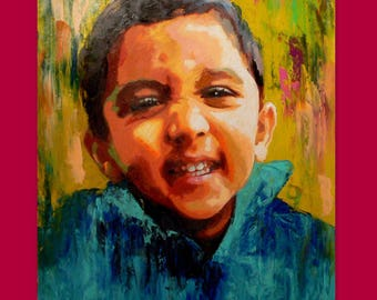 Custom Art - Personalized Kids Portrait Portraiture Canvas from Photo - Ultimate Gift Custom Oil Painting Child Portrait From Photo Canvas