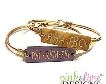 Multi Monogrammed Bar Bracelet, Personalized, Monogrammed, Wire Bracelet, Bangle, Jewelry, Hook Back Bracelet, Mother's Day, Grandmother
