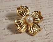 Trifari Gold Tone Dogwood Flower Pin With Faux Pearl