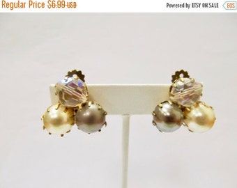 On Sale Vintage Grey, White and Clear Prong Set Beaded Earrings Item K # 2766