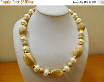 On Sale RICHELIEU Faux Pearl and Stone Like Beaded Necklace Item K # 2206