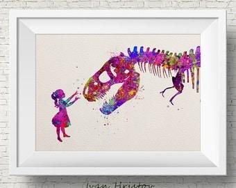 Girl and Dinosaur T-Rex, dinosaur print, dinosaur bones, pink kids art, watercolor dinosaur, dino print, dinosaur art, watercolor print