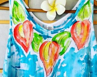 Hand Painted Dress - Sun Dress - Woman Beach Dress - Resort Dress - Plus Size Dress - Cotton Cover Up - Blue dress - Knee length dress