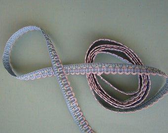 Vintage Tiny Pale PINK - BLUE Silky Trim - 53 x 3/8th inch width