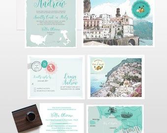 Destination wedding invitation Amalfi Coast Italy Positano Atrani Sorrento wedding invitation RSVP Illustrated invitation Deposit Payment