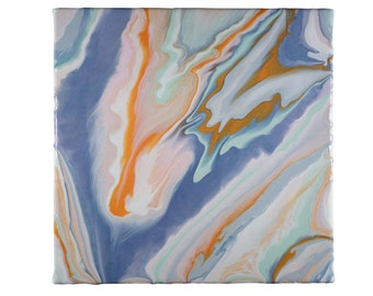 Colorful abstract painting in fluid acrylic on 8X10 stretched canvas in orange, pink, blue, grey, and mint.