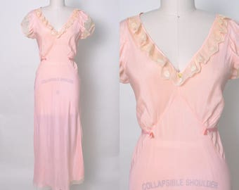 Vintage 1930s Nightgown Polka Dot Lace Netting Bias Cut Gown