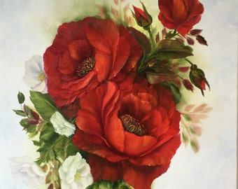 Romantic Red Roses Oil Painting on Box Canvas