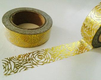 Gold Foil Rose Washi Tape