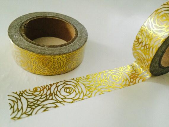 Hoja de oro Rose Washi Tape por GoatGirlMH en Etsy