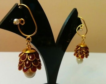 Three- tier Indian pacchi, pachi jhumkas in maroon with golden hook, Indian jewelry, earing