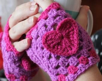 Crochet Pattern PDF download Valentine Gloves. Fingerless gloves, mitts