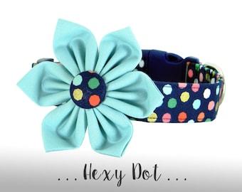 Navy, Blue, Pink, and Gold Flower Dog Collar; Polka Dot Dog Collar: Hexy Dot