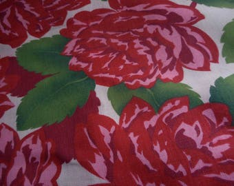 Vintage 1960's, 70's, 80's? Cranston Large Scale Red and Pink Roses on Lightest Pink Home Decor Fabric, 4 plus yards
