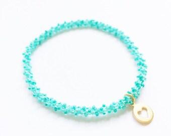 Golden Heart charm stackable beaded crochet mint turquoise yoga friendship bracelet
