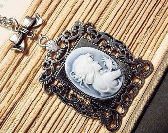 Silver and Blue Cameo Necklace
