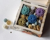 Spring Offer, Silk Handmade Beads Buttons Embellishments Multi Colored, Assortment of 90, Clearance Wholesale