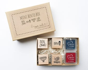French Teacher Gift Set - Teacher Stamp Set - Hand lettered and hand drawn set of mini stamps for teachers READY TO SHIP