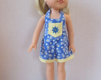 Blue and yellow floral summer shorts overalls American made to fit 14 1/2 inch Wellie Wisher Girl Dolls