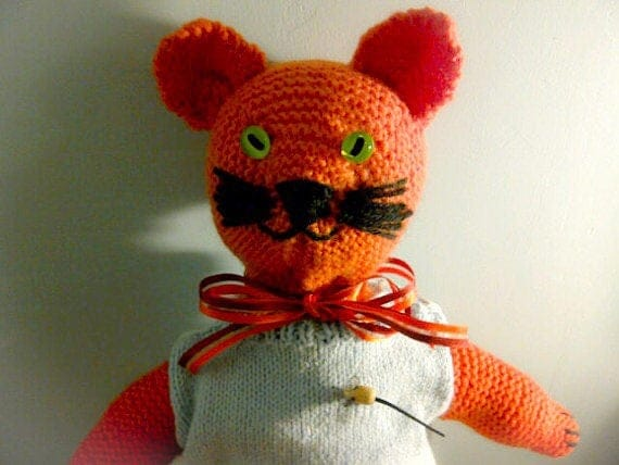 Marmaduke The Marmalade Cat. Hand-knitted. MADE TO ORDER