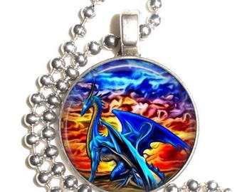 Blue Dragon at Sunset Altered Art Photo Pendant, Earrings and/or Keychain Round, Silver and Resin Charm Jewelry