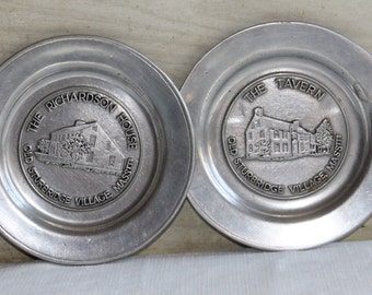 Old Sturbridge Village Mass RWP Pewter Plates - The Tavern - Richardson House - Wilton Columbia PA - Collectibles - Vintage - Souvenir