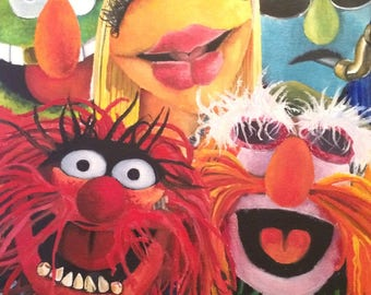 Dr. Teeth and the Electric Maybem of The Muppets original oil painting.
