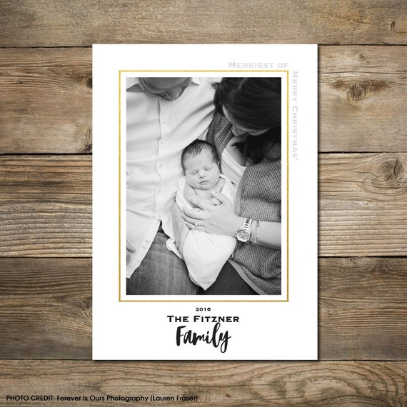 Photo Christmas Card : Faux Gold/Silver Foil Merriest of Merry Christmas' Photo Holiday Card Printable