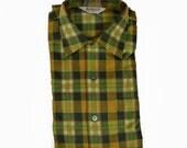 vintage flannel shirt: green orange plaid double front pocket, Macy's brand NOS