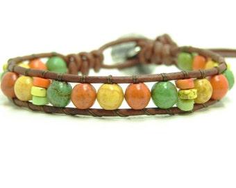 Green Mix Beaded Leather Wrap Bracelet, Multicolor Magnesite Single Wrap Bracelet, Tribal Style Wrap Bracelet, Orange Beaded Bracelet