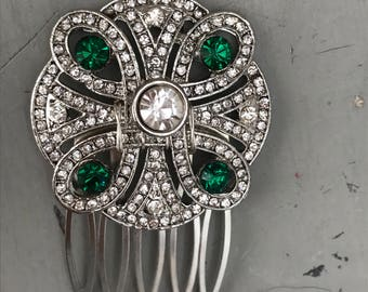 Art deco hair accessories , Emerald Green Hair Comb , Crystal Bridal accessories.