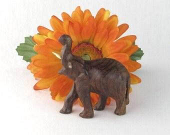 Good Luck Trunk Up Feng Shui Elephant Figurine - Hand Carved Wood Figure - Vintage Home Decor