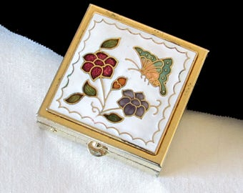 Enamel and Gold Metal Pill Box