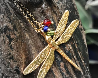 Large Dragonfly pendant. Large Dragonfly necklace. Pendant silver Dragonfly bath gold. Large Dragonfly bath gold necklace.
