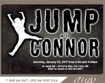 Jump Birthday Party Invitations Boy Trampoline Invitations Jump Party Chalkboard Invitations Trampoline Invites Jump Invites Grunge Tween