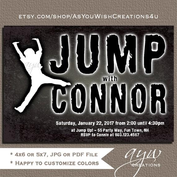 jump birthday party invitations boy trampoline invitations jump
