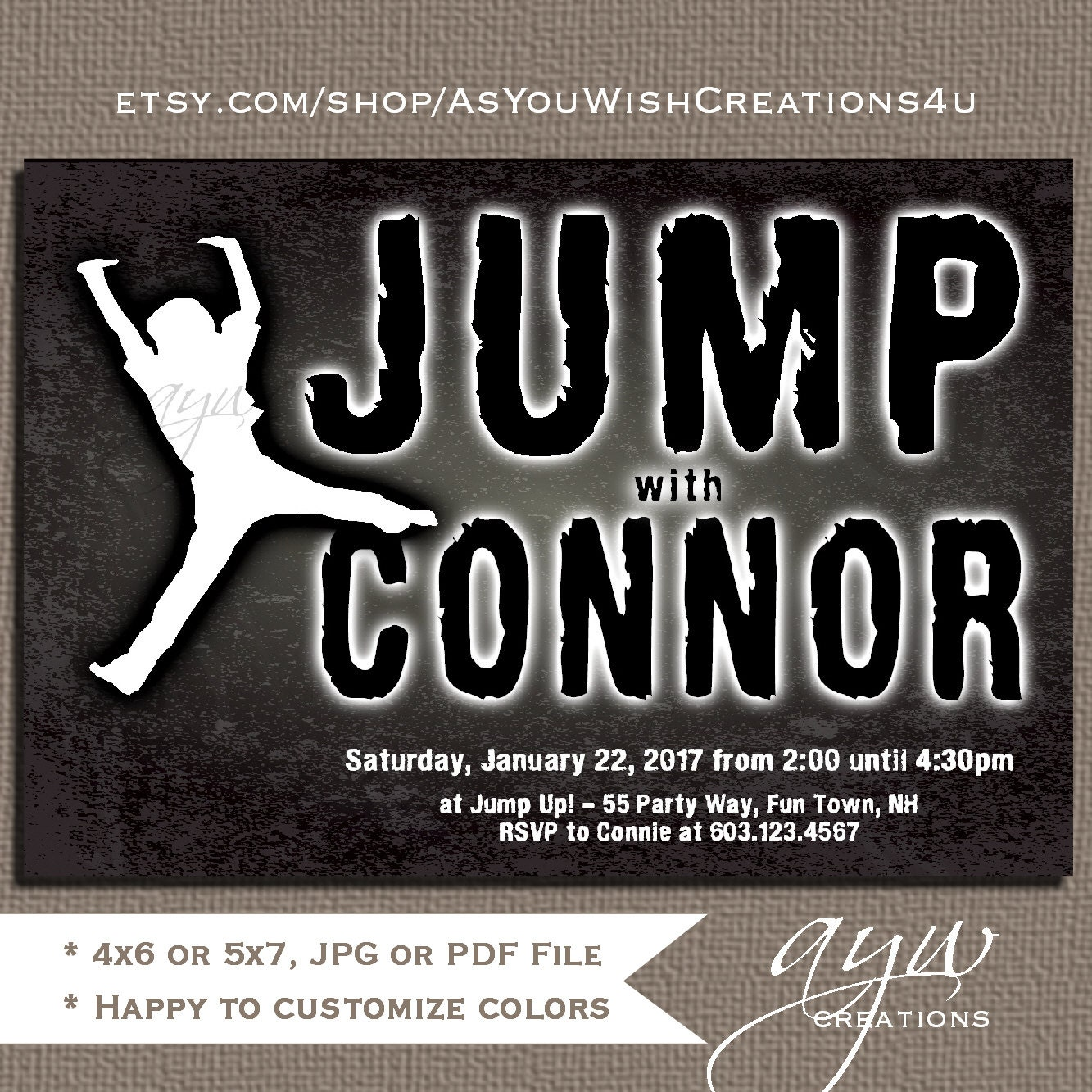 Jump Birthday Party Invitations Boy Trampoline Invitations