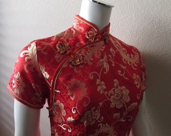 vintage Asian Wiggle dress frog buttons sexy red gold detail Rayon