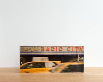 NYC Street photography, Photo Art Block, Image Transfer on wood, 'Radio City' by Patrick Lajoie, New York City, yellow cab, taxi