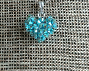 Crystal Puffy Heart Pendant