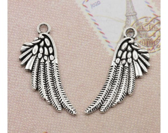 6 Lovely Wing Charms Pendants Silver Tone 29x16mm