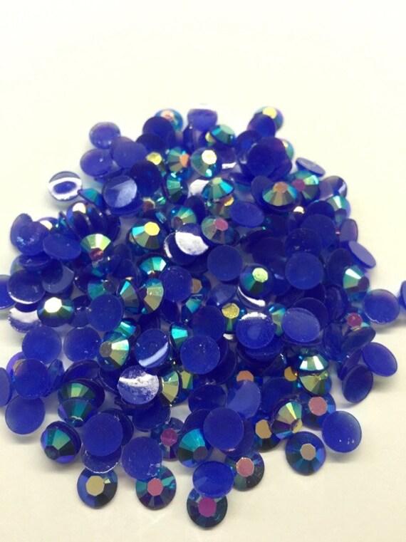 Sapphire Blue AB Flat Back Round Resin Rhinestones Embellishment Gems C77
