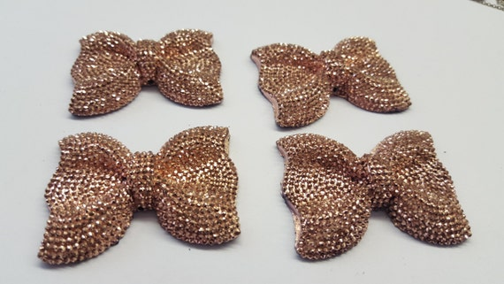 Peach Gold Large Flat Back Chunky Resin Rhinestone Embellishment Bows C14