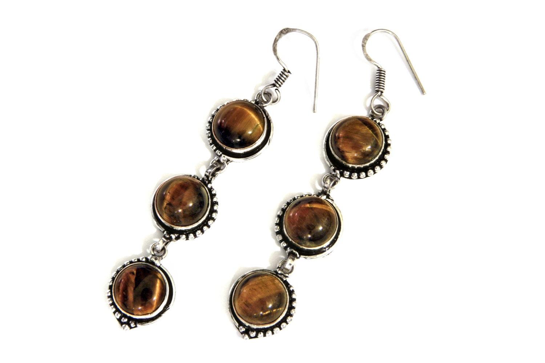 sterling and tiger eye earrings large earrings