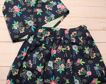 Floral Two Piece Skirt Set