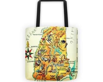New Hampshire map tote bag, New Hampshire tote bag, New Hampshire Gift, 15x15 tote bag, NH state map tote bag, New Hampshire tote, NH home