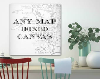 Canvas Art, Farmhouse Decor, Map Canvas, Map Art, Farmhouse Wall Decor 30x30, Custom Map Canvas, Canvas Wall Art , Hometown City Map