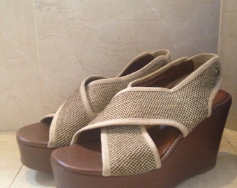 Summer Sale Women's Size 7.5 Crown Vintage Platform Chunky Wedge Sandal/ Open Toe  Women's Shoes Size 7. 5
