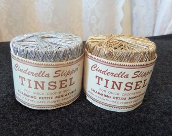 Vintage Crochet Thread Cinderella Slipper Tinsel Silver Gold